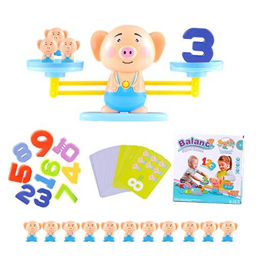 Colmanda Juguete Matemático de Equilibrio, 64 Piezas Juguete Balance Matemático Balanza Juguete Equilibrar Juego Ideal para Niños Aprender los Números (Cerdito)