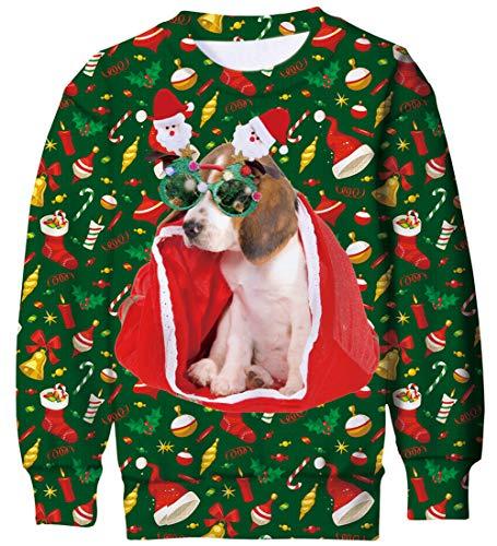 Goodstoworld Jerseys Navidad Niño Niña 3D Perro Gráfico