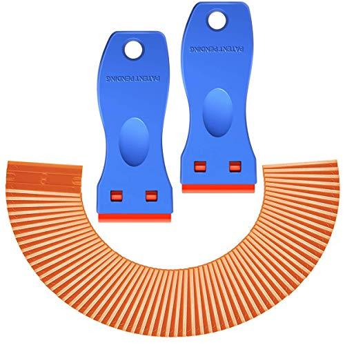 Plastic Razor Blade Scraper-Mini Plastic Scraper Tool, 2 Pack Razor Scraper with 120 Pcs Razor Blades, Removing Labels, Doors, Stickers and Decals,Window Cleaning Easily Remove