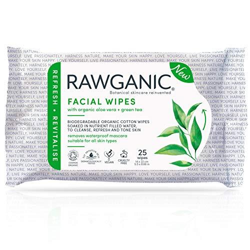 RAWGANIC Toallitas faciales refrescantes | Toallitas suaves de algodón orgánico, sin alcohol, sin fragancia y biodegradables | con Aloe Vera y té verde