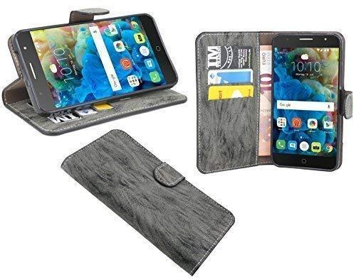 cofi1453 Buchtasche kompatibel mit Alcatel Pop 4 Plus (5056D) Hülle Hülle Tasche Wallet BookStyle mit Standfunktion in Anthrazit