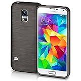 moex® Stylische Brushed Aluminium-Optik und starker Grip | Ultra dünne Silikonhülle passend für Samsung Galaxy S5 in Schwarz