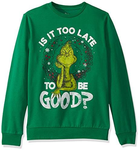 Dr. Seuss Men's Ugly Christmas Crew Sweatshirt, Too Late/Green, Large