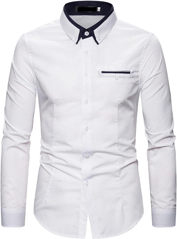 Burband Mens Casual Long Sleeve Poplin Shirts Regular Fit Premium Button Down Wedding Dress Shirts Business Office Tops