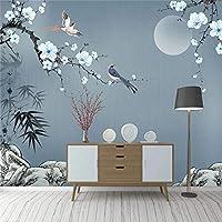 3D壁紙中国風の手描きの石の竹の葉梅の花壁壁画リビングルームテレビソファ寝室フレスコ画-200x140cm