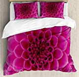 Ambesonne Floral Duvet Cover Set, Close-Up Look Flower Petals Hot Pink Florets Nature Beauty Fragrance Botany Bloom Art Picture, Decorative 3 Piece Bedding Set with 2 Pillow Shams, Queen Size, Magenta