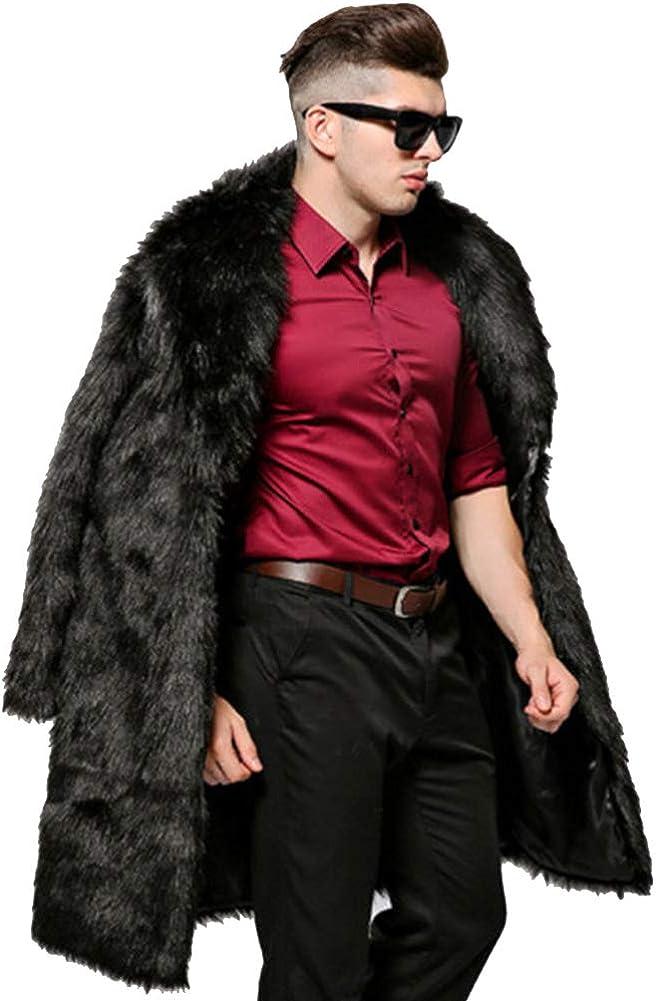 ハイクオリティ Men's Faux Fur Coat 割引も実施中 Winter Warm Luxury Th Long Praka Outerwear