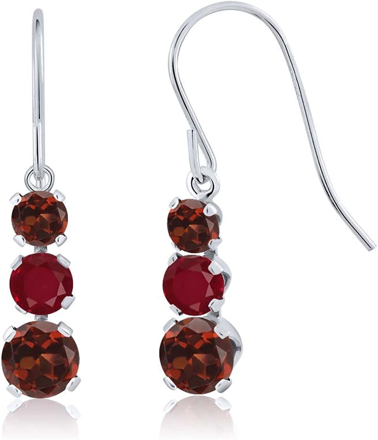1.94 Ct Round Red Garnet Red Ruby 925 Sterling Silver Earrings