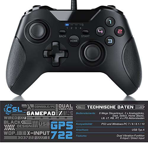 CSL - Gamepad für PC im Xbox Design - Controller kabelgebunden - hochwertige Analogsticks - geringe Deadzone – hohe Reaktionsgeschwindigkeit - Dual Vibration Feedback – Gummierung für sicheren Grip