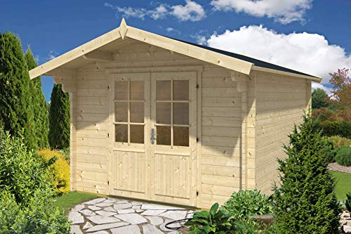 Alpholz Gartenhaus Nele-44 aus Massiv-Holz   Gerätehaus mit 44 mm Wandstärke   Garten Holzhaus inklusive Montagematerial   Geräteschuppen Größe: 320 x 415 cm   Satteldach