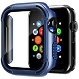 Tuxlke Case Designed for Apple Watch Series 6/5 /4 /SE iWatch 44mm with Tempered Glass Screen Protector,Thin Hybrid Shockproof Dual Layer TPU + PC Case HD Clear [Wireless Charging Compatible]-Blue