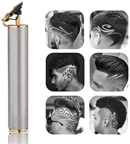 Elektrische Pflege Cordless Cutting Wiederaufladbarer Cordless Close Cutting T-Blade Trimmer für Männer 0Mm Glatze Haarschneidemaschine Zero Gapped Detail Bartrasierer Barbershop Gold-Grau Perf