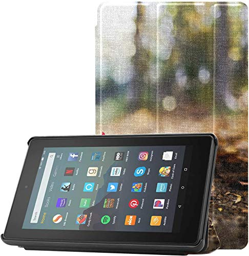 Cover KindleFireProtectorCase Scorch Beautiful Maple Leaves KindleFireCaseforKids for Fire 7 Tablet (9th Generation, 2019 Release) Lightweight with Auto Sleep/Wake