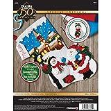 Bucilla 18-Inch Christmas Stocking Felt Appliqué Kit, 86818 Christmas Village