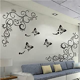Amaonm Hot Fashion Removable Vinyl DIY Black Nursery Flowers Vine and Beautiful Butterfly Wall Corner Decals Wall Sticker Murals Home Art Decor for Girls Kids Bedroom Living Room Home Decorations