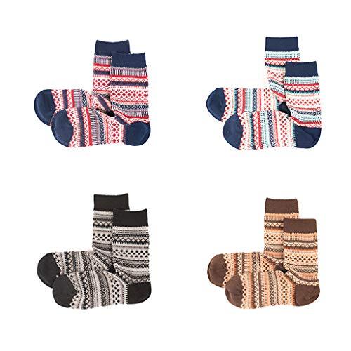 MYBOON 4 Pares de Calcetines de algodón de Navidad Vintage para Mujer, calcetería de Invierno con Rayas étnicas, Calcetines Deportivos, Colores Mezclados