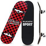 XJJY Skate Mini Cruiser Longboard 8 Couches Decks Pro complète Panneau de Skate Boîte d'érable Longboards pour débutants Adultes Adultes garçons garçons barbotoirs Double Kick Board,A