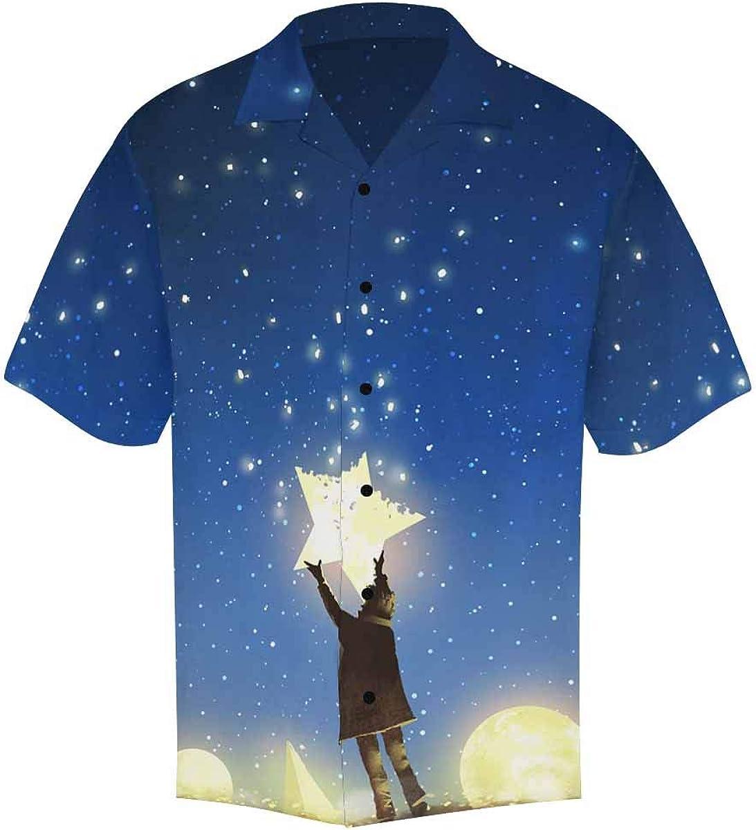 InterestPrint Men's Casual Button Down Short Sleeve Colored Space Nebula Hawaiian Shirt (S-5XL)