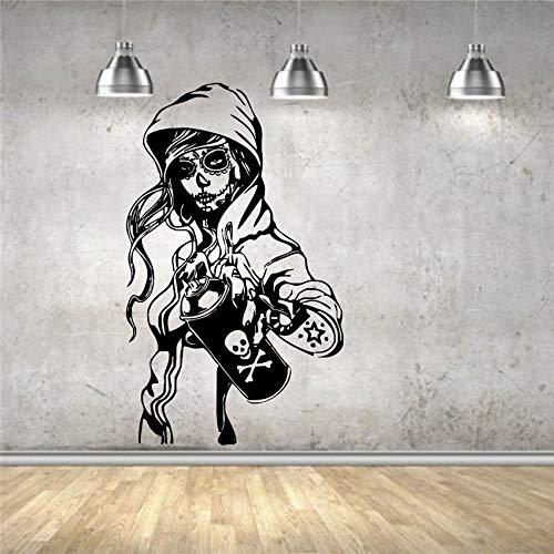 Adesivo da parete Decalcomania in vinile Decorazioni di caramelle Zucchero Cranio Graffiti Ragazza Cartone animato Vita Decorazione Adesivi murali Adesivo da parete B7007