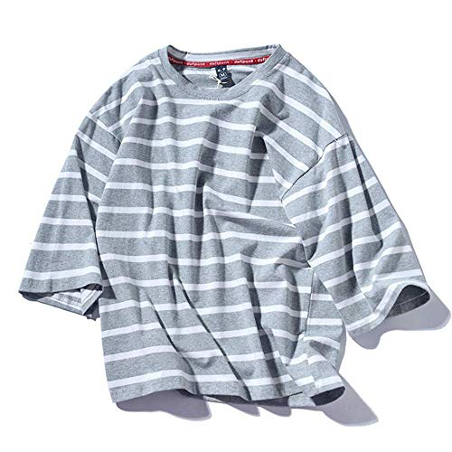 IDE Play Mens rayé T-Shirt Ras du Cou à Manches Longues Casual Tops Manches Courtes T Fines Rayures,Gris,XXL