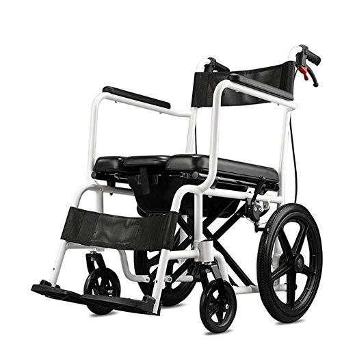 AOLI Rollstuhl mit WC, Old Man Falten Licht Trolley Behinderte Aluminiumlegierung Super Light tragbare Multifunktions-Trolley