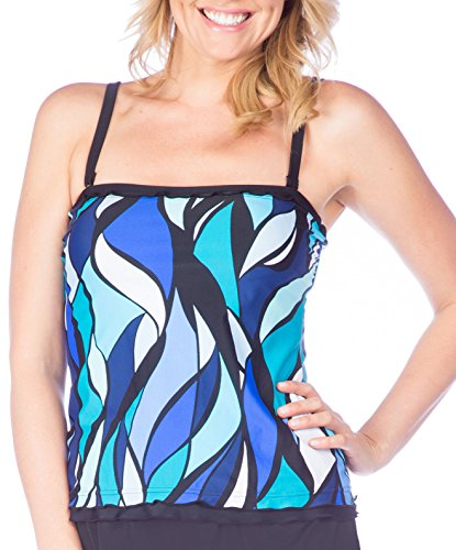 Maxine Of Hollywood Women's Ruffle Bandeau Tankini Swimsuit Top, Cobalt/Stained Glass, 18