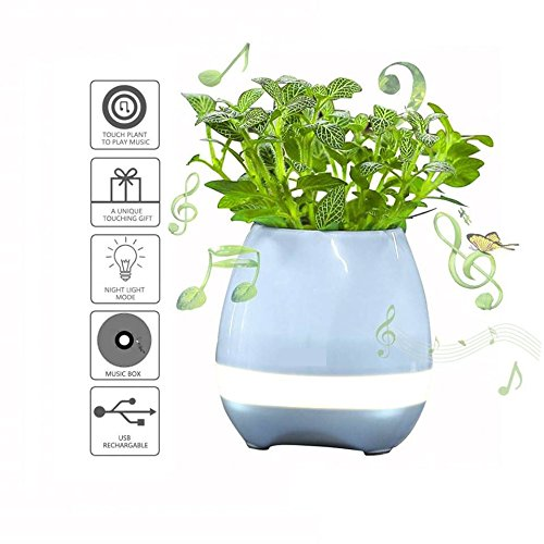 HHD Plant Flowers Pots,Touch Sense Piano Playing USB Rechargeable Wireless Bluetooth Speaker Multi Color LED Music Pots Vase with Night Light for Office Home Decoration/Festival (Blue)