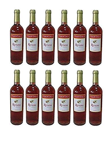 12x Retsina Rose je 750ml 12,5% geharzter Roséwein Rosé Wein Griechenland trocken + 2 Probier Sachet Olivenöl aus Kreta a 10 ml