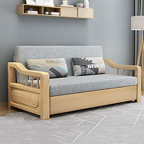 Sofa Convertible Bed, Pull Out Folding Sofa, Multifunctional Solid Wood Sitting And Sleeping Double Sofa with Practical Storage Box Function,for Apartment Living Room Furniture,Beige,1.79M