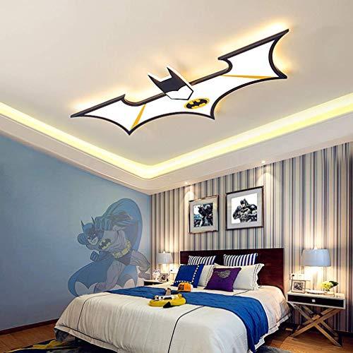 sgvaga Lámpara de techo LED de 34 W, creativa, diseño de Batman, personalizable, para niños, diseño del Capitán América, lámpara acrílica para salón o dormitorio, 92 cm, color negro, 6000 K