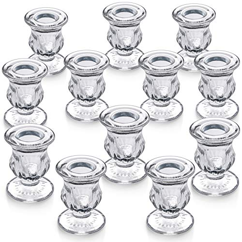 """Letine Candlestick Holders Set of 12 - 2.5"""" H Taper Candle Holders Bulk - Clear Glass Candle Holder for Windowsill, Wedding & Festival"""