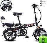 GUOJIN Bicicleta Eléctrica, 350W Motor Bicicleta Plegable 25 km/h, Bici Electricas Adulto con Ruedas de 14', Sillin Confort,Negro