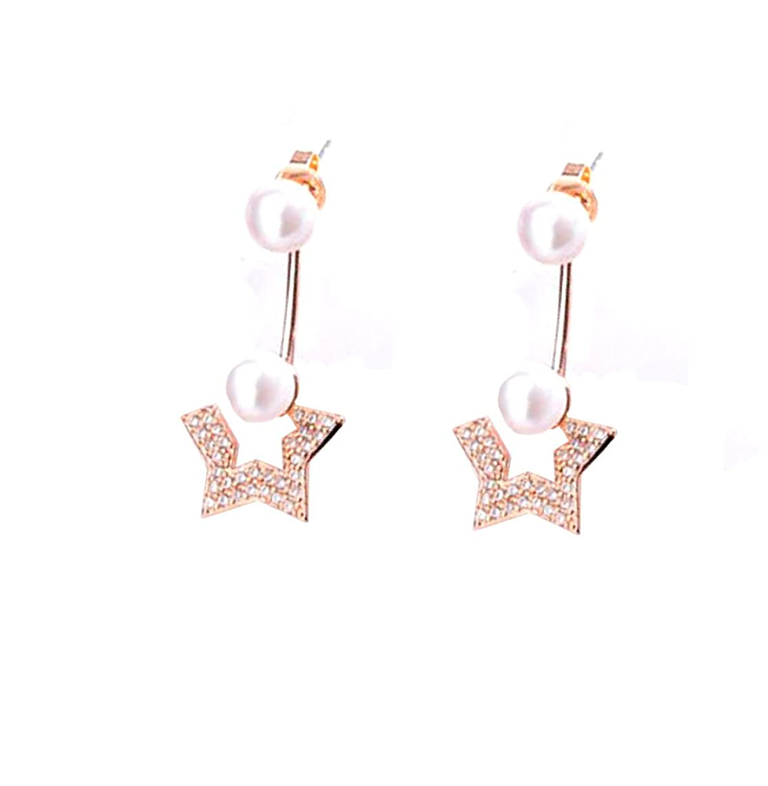 Ostory star pearl diamond ear Cuffs Wrap Dangle Drop Tassel Stud Earrings hoop earrings with cubic zirconia