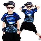 Moyuqi™ Ropa de Verano de Hip Hop para niños Set Niños Chica Jazz Dance Disfraces para niños O-Cuello de Manga Corta Traje de Ropa (120cm)
