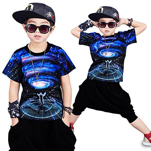 Moyuqi™ Ropa de Verano de Hip Hop para niños Set Niños Chica Jazz Dance Disfraces para niños O-Cuello de Manga Corta Traje de Ropa (150cm)