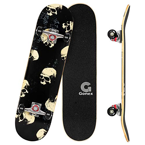 Gonex Complete Skateboard for Teens Adults Beginner, 31 x 8 Inch Standard Skateboard for Boys Girls Kids with 9 Layer Maple Deck Double Kick Deck Concave