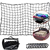 WUPP Cargo Net for Pickup Truck Bed, Heavy Duty 4'x 6' Elastic Cargo Bungee Net Stretches to 8' x 12' for Roof Rack/Car/Trailer, 12 D-Clip Carabiners, 4