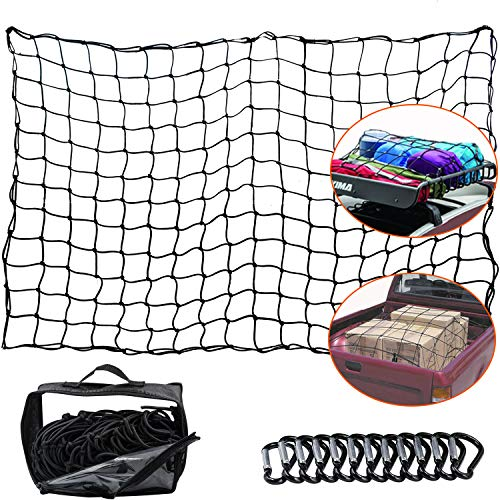 WUPP Cargo Net for Pickup Truck Bed, Heavy Duty 4'x 6' Elastic Cargo Bungee Net Stretches to 8' x 12' for Roof Rack/Car/Trailer, 12 D-Clip Carabiners, 4'x4' Mesh Holds Small and Large Loads Tighter