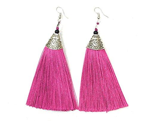 Pendientes largos largos con borla rosa fucsia