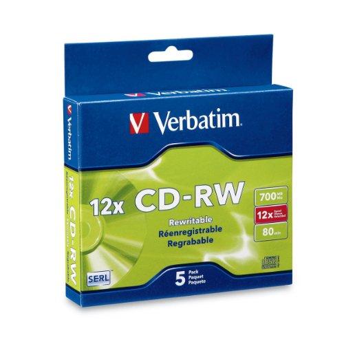 Verbatim CDRW 700MB 4X12X High Speed with Branded Surface  5pk Slim Case