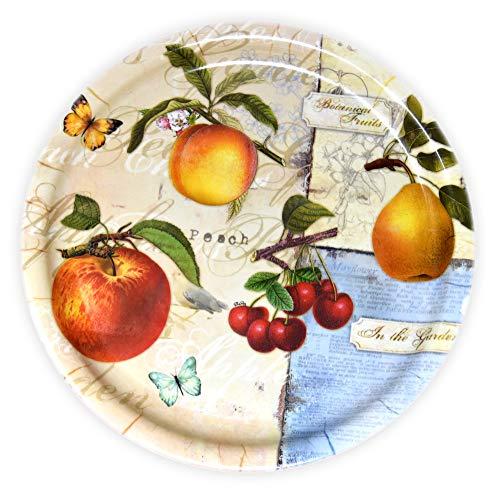 Lashuma Rundes Kuchentablett, Motiv: Apfelgarten, Esstablett aus Melamin, Tablett zum Servieren, 32 cm Ø