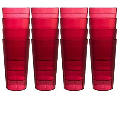 Cafe 20-ounce Break-Resistant Plastic Restaurant-Quality Beverage Tumblers | Set of 16 Red