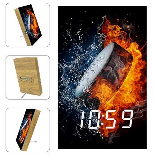 TIZORAX Wecker Hockey Puck In Feuer und Wasser LED Digitaluhren für Büro Küche Wohnzimmer Schlafzimmer Desktop mit USB-Aufladung