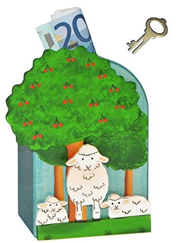 alles-meine.de GmbH 3-D Spardose Schaf aus Holz - mit Schlüssel - stabile Sparbüchse Sparschwein für Kinder - Holzspardose Schäfchen