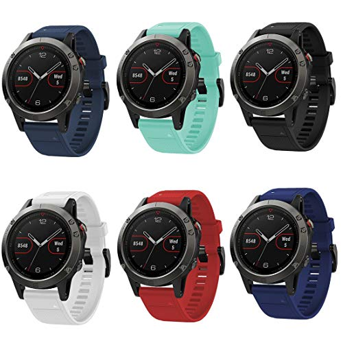 GinCoband Easy Fit Garmin Fenix 5 Bands Replacement for Garmin Fenix 5,Fenix 5 Plus,Garmin Forerunner 935 Soft Silicone 22MM (6-Pack, 22mm Width)