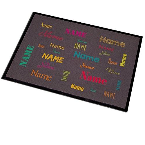 Herz & Heim® Fußmatte mit Aufdruck des eigenen Namens in verschieden Schriftarten und Farben