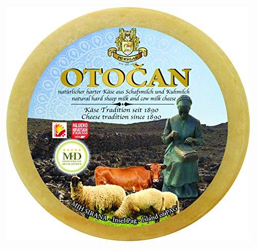 Ganzer Laib Pager Käse OTOČAN ca. 2800g halbharter Mischkäse aus Dalmatien mit Meersalz aus der Saline von Pag plus eine Flasche Weisswein Malvazija 0,75 lt Gratis dazu