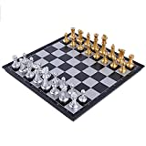 Folding Chess Board - Size: Unfold: 9.8 x 9.8 x 0.8 inches; Fold: 9.8 x 4.9 x 1.6 inches; Chess board features clear pattern and foldable, convenient to carry andkeep in place; Figures and letter are Marked on the Board, which is convenient for teac...