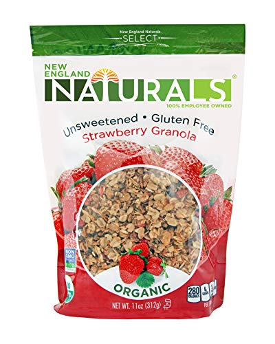 New England Naturals Organic Unsweetened Gluten-Free Strawberry Granola, 11 Ounce Pouch Organic Strawberry Granola Cereal with No Added Sugar, Non-GMO, USDA Organic, Kosher