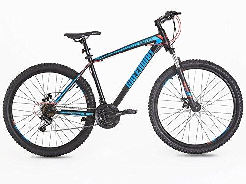 """Greenway - Mountain bike, telaio e forcella in acciaio, sospensione anteriore, 29 pollici (blu), T16B21129""""Black+Blue, Black and blue, 29"""